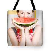 Funny Woman With Juicy Fruit Smile Tote Bag