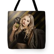 Gas Mask Pinup Girl In Nuclear Danger Zone Tote Bag