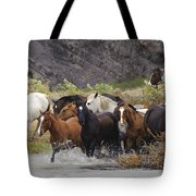 Gaucho With Herd Of Horses Tote Bag