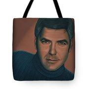 George Clooney Painting Tote Bag by Paul Meijering