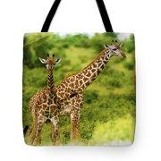 Mom Giraffe And Little Joey Tote Bag