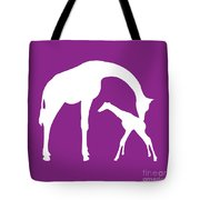 Giraffe In Purple And White Tote Bag