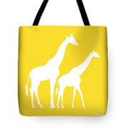 Giraffes In Golden And White Tote Bag