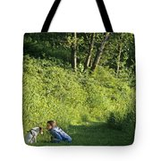 Girl And Dog On Trail Tote Bag
