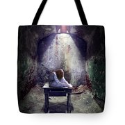 Girl In Abandoned Room Tote Bag