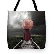 Girl On Tracks Tote Bag