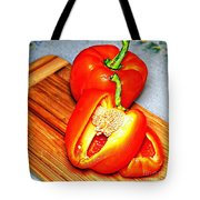 Glowing Peppers With Texture Tote Bag