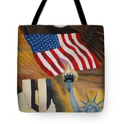 God Bless America Hand Embroidery Tote Bag