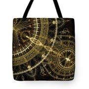 Golden Abstract Circle Fractal Tote Bag