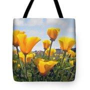 Golden Poppies Impasto Tote Bag