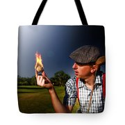 Golf Ball Flames Tote Bag