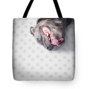 Goofy Blue Staffie Lying On His Back Tote Bag