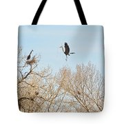 Great Blue Heron Nest Building 3 Tote Bag