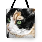 Green Eyed Cat Tote Bag