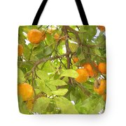 Green Leaves And Mature Oranges On The Tree Tote Bag