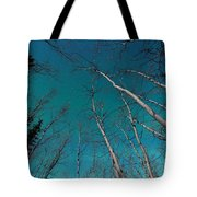 Green Swirls Of Northern Lights Over Boreal Forest Tote Bag