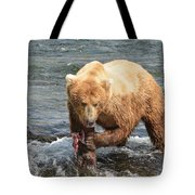 Grizzly Bear Salmon Fishing Tote Bag