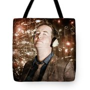 Groovy Retro Clubbing Guy At A Silent Trance Rave Tote Bag