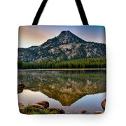 Gunsight Mountain Reflection Tote Bag by Robert Bales