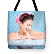 Happy 60s Pinup Housewife On Blue Ironing Board Tote Bag