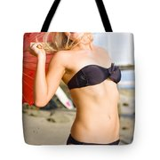 Happy And Excited Woman Jumping At Beach Tote Bag