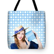 Happy Birthday Girl Holding Present Tote Bag