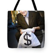 Happy Business Man Smiling With Money Bag Tote Bag