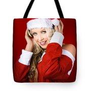 Happy Dj Christmas Girl Listening To Xmas Music Tote Bag