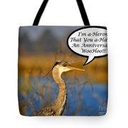Happy Heron Anniversary Card Tote Bag