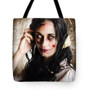 Hard Rock Zombie Listening To Death Metal Music Tote Bag