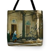Harem Women Feeding Pigeons In A Courtyard Tote Bag by Jean Leon Gerome