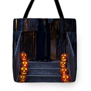 Haunted House With Lit Pumpkins And Demon Tote Bag
