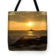Hawaiian Waves At Sunset Tote Bag
