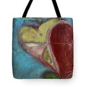 Heart Shape Painted On A Wall, Safed Tote Bag