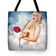 Heavenly Angel Of Love With Flower Arrow Tote Bag