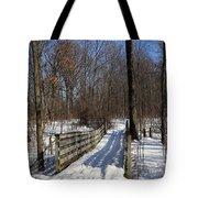 Hiking Trail Bridge With Shadows 3 Tote Bag