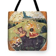 Hindu Goddess Durga Fights Mahishasur Tote Bag