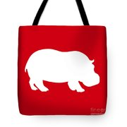Hippo In Red And White Tote Bag