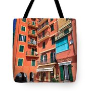 homes and promenade in Camogli Tote Bag