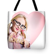 Hopeless Romantic Girl Showing Signs Of Love Tote Bag