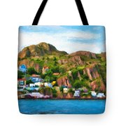 Houses On Hillside Tote Bag