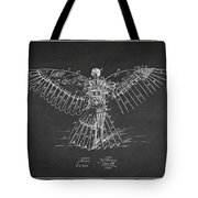 Icarus Flying Machine Patent Drawing Rear View Tote Bag
