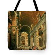 Interior Of St Peters In Rome Tote Bag by Giovanni Paolo Panini