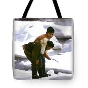 Inuit Boys Ice Fishing Barrow Alaska July 1969 Tote Bag