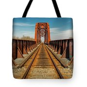 Iron Railroad Bridge Over Water, Texas Tote Bag