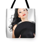 Isolated Beauty Portrait. Womens Hats And Headwear Tote Bag