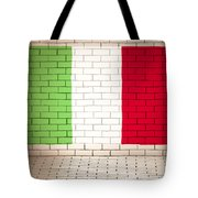 Italy Flag Brick Wall Background Tote Bag
