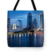 Jacksonville Skyline At Dusk Tote Bag