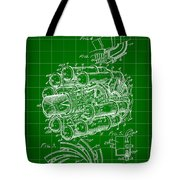 Jet Engine Patent 1941 - Green Tote Bag