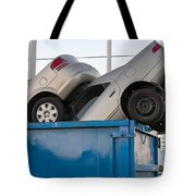 Junk Cars In Dumpster Cash For Clunkers Tote Bag